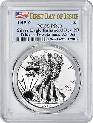 2019-W Pride of Two Nations $1 Silver Eagle Reverse PR69 PCGS FDOI First Day US