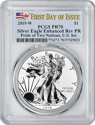 2019-W Pride of Two Nations $1 Silver Eagle Reverse PR70 PCGS FDOI First Day US