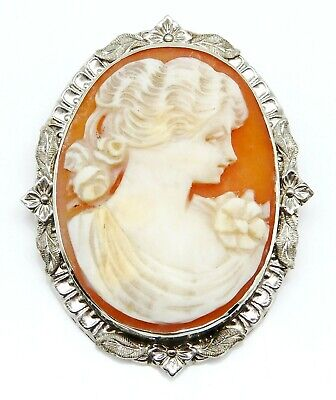 VINTAGE Solid 14k White Gold / Cameo Ladies Brooch Pin