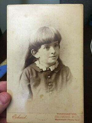 Cabinet Card from 1880's of Little Girl - Echard - Mammoth Photo - Columbus, MS