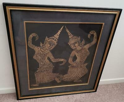 Vintage Thai Dancers Cambodian Temple Rubbing Gold Painting on Cloth