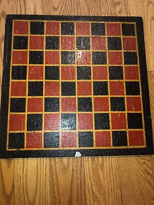 Primitive Antique Hand Made Painted Game Board Checkerboard Red Black Yellow