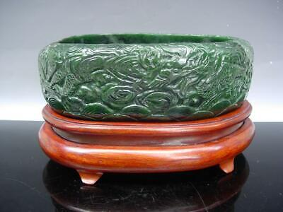 A Large Chinese Spinach Green Jade 'Dragon' Brush Washer