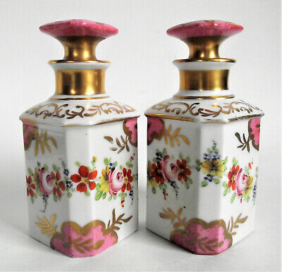 PAIR Antique FRENCH Paris PERFUME SCENT Dresser Bottle PORCELAIN Painted France
