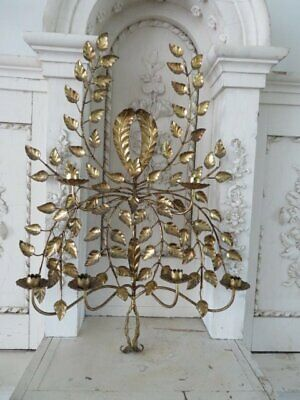 FABULOUS Old Vintage Italian Tole WALL SCONCE with 6 CANDLE HOLDERS Gilted