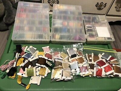 Huge Lot of Vintage Embroidery/Floss DMC Thread with Storage Boxes