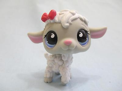 Littlest Pet Shop Lamb Sheep White Grey Blue Eyes Pink Bow 879 Authentic Lps