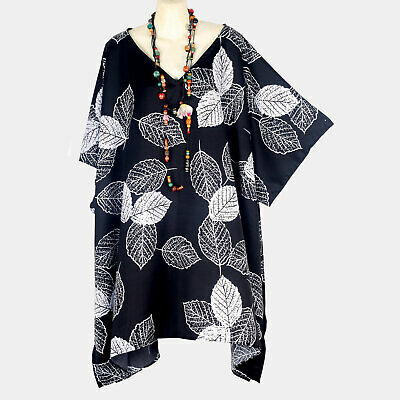 Floral Satin Caftan Tunic Top New Black White Plus Size Womens 3X 4X 5X P21569