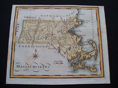 1795 Scott Map Colonial State of Massachusetts - One of earliest state maps made