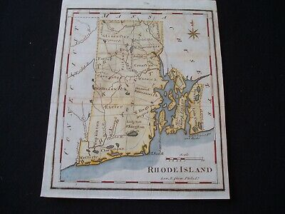 1795 Scott Map Colonial State of Rhode Island - One of earliest state maps made