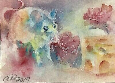 ACEO Original painting mouse Mice Card gouache artwork Direct From Artist USA