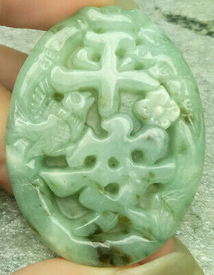 Certified Green Natural A Jade Jadeite Carved Pendant Magpies Plum Flower Safe