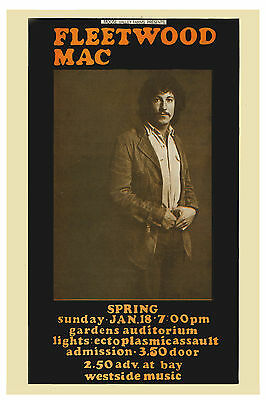 Fleetwood Mac Featuring Peter Green Concert Poster 1969
