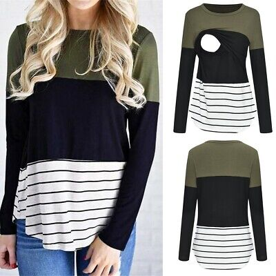 Women's Maternity Long Sleeve Striped Nursing Tops Shirt For Lady Breastfeeding