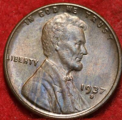 Uncirculated 1937-S San Francisco Mint Copper Lincoln Wheat Cent