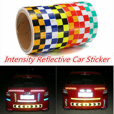 4M X 25MM High Intensity Safety Reflective Tape Chequer Vinyl Roll Self-Adhesive