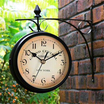 UK Two-Sided Retro Garden Wall Station Classic Clock Hanging Outdoor Patio Decor
