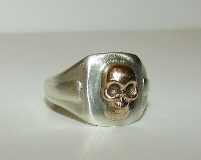 Superb, Antique Victorian 9 Ct Gold And Silver Memento Mori Skull Ring