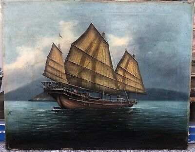 Antique Chinese Painting Canvas Junk Boat Canton China sea 19th Century Signed