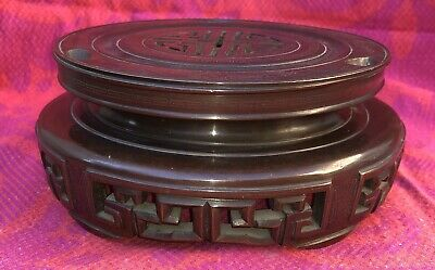 Rare Carved Bronze Chinese Stand With Silver Inclusion 19th Century