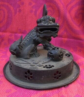 LARGE Carved Bronze Chinese Sculpture Antique With Beast 19th Century