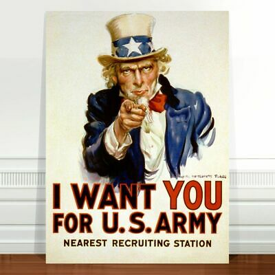 """Cool Vintage War Poster Art ~ CANVAS PRINT 8x10"""" ~ Uncle Sam I want You"""