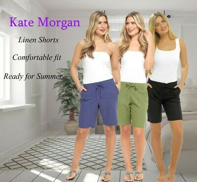 **New** Ladies Elasticated Linen Shorts With 4 Pockets & Drawstring Size 10-20