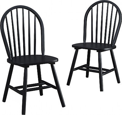 Autumn Lane Windsor Solid Wood Dining Chairs Set Of 2 Home Kitchen Wooden Seat