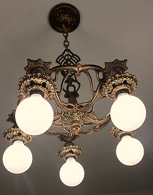 SWEET 20's ANTIQUE VINTAGE Art Deco Ceiling Light FIxture CHANDELIER