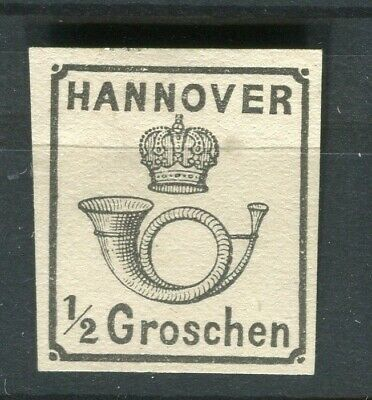 GERMANY HANNOVER 1860 early classic Imperf issue fine Mint hinged 1/2g