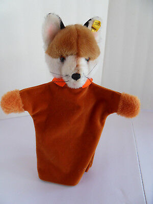 Steiff fox hand puppet button flag stuffed animal made in  Germany 2468