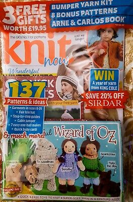 NEW!!! KNIT NOW Magazine Issue 83 The Wizard Of Oz knitting kit pattern