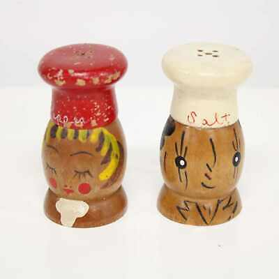 Vintage 1950s Wooden Chef Salt and Pepper Shakers Kitchen Decor # 120