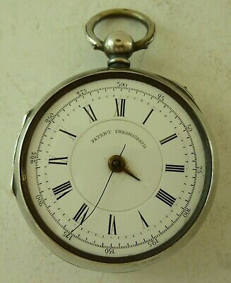 Antique Swiss Solid Silver Patent Chronograph Pocket Watch FV 63449 Repair 800