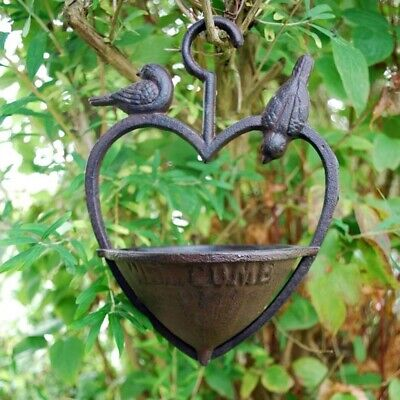 Garden Bird Feeder Cast Iron Hanging Heart With Welcome Sign