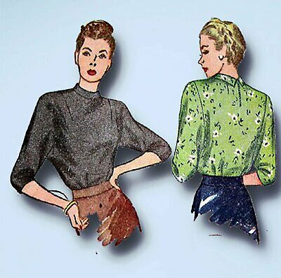 1940s Vintage Simplicity Sewing Pattern 1403 Charming Misses WWII Blouse Sz 32 B
