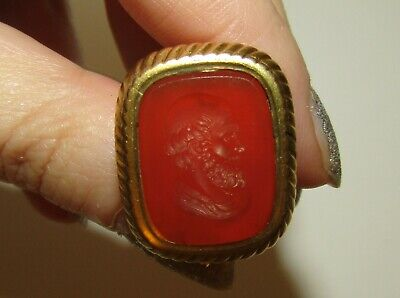Superb, Antique Georgian Gilt Fob Seal Pendant With Carved Carnelian As Plato