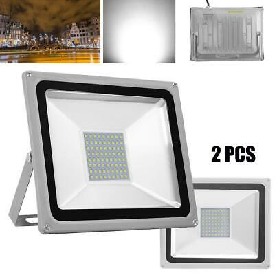 2X50W Cool White LED Flood Light Spot Lamp Outdoor Garden Landscape Yard IP65