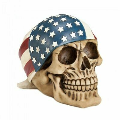 """7.5/"""" X 5.5/"""" Skull with Cigar and American Flag Hat Sticker Decal"""