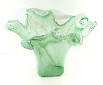 Arte Murano, Italy Hand Blown Glass Waves of Misty Green Large Mid-Century Vase