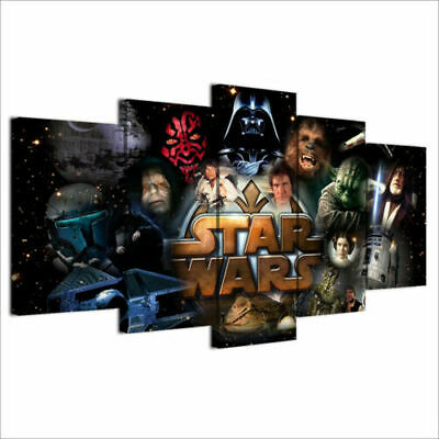 Star Wars Characters Large Framed Canvas Five Piece Wall Art 5 Panel Home Decor