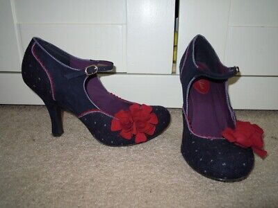 Ladies Gorgeous RUBY SHOO Blue & Red Flower Detail Heels - Size 7 - VGC