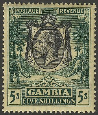 Gambia 1926 King George V 5sh Green on Yellow Mint SG141 cat £55