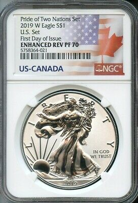 2019 W Silver Eagle From Pride Of Two Nations U.S. Set F.D.O.I. NGC Enh.Rev PF70