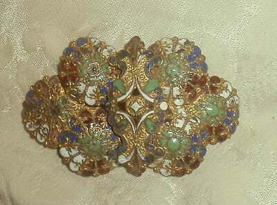 Antique Victorian French Champleve Enamel Buckle 2 Pc Great Colors Flowers VG