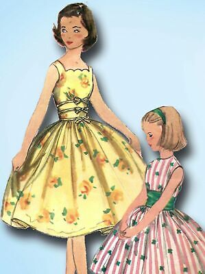 1950s Vintage Simplicity Sewing Pattern 2127 Little Girls Party Dress Size 7