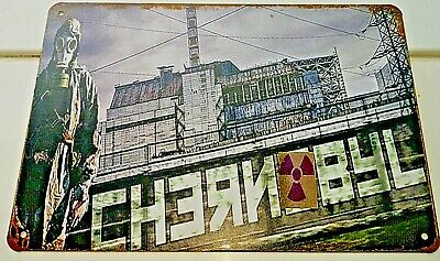 Chernobyl Metal Sign Radiation CCCP Soviet Russian Man with Gas Mask Danger USSR