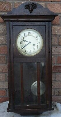 Old Large Wooden Vienna Type Wall Clock