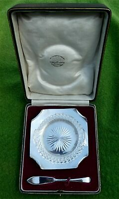 CASED SILVER & GLASS BUTTER DISH WITH SPREADER BY GOLDSMITHS Co. 1925 - 4.28 ozt