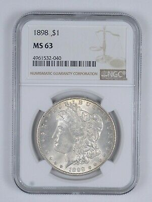 MS63 1898 Morgan Silver Dollar - Graded NGC *956